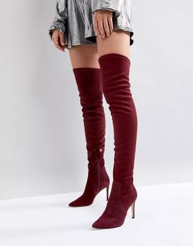 Dune London Pull On Over The Knee Suede Boot in Berry