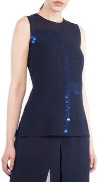 Akris Round-Neck Sleeveless Sequin Embellished Organza Blouse