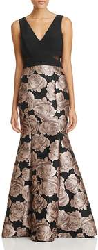 Aqua Floral Brocade Gown - 100% Exclusive