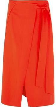 Cédric Charlier Wool-Blend Crepe Wrap Midi Skirt