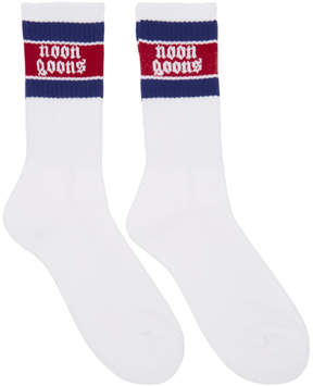 Noon Goons Two-Pack White and Red Stripe Stop Sox Socks