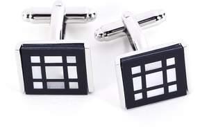 Bey-Berk Rhodium-Plated Square Pattern Cuff Links