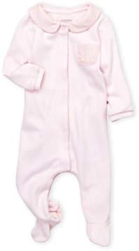 Absorba Newborn Girls) Houndstooth Peter Pan Collar Footie