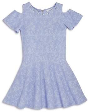 Us Angels Girls' Textured Cold-Shoulder Dress - Little Kid