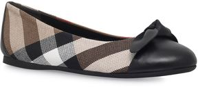 Burberry Leather Bow Check Ballet Shoes