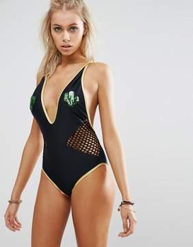 Jaded London Sequin Cactus Plunge Swimsuit