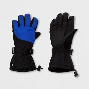Champion Boys' Embossed Pieced Color Block Ski Gloves Blue/Black