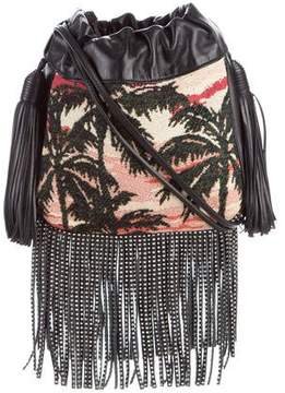 Saint Laurent Helena Small Sunset Fringe Bucket Bag - BLACK - STYLE