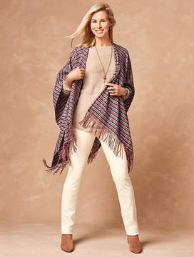 Talbots Tassel Forest Check Wrap