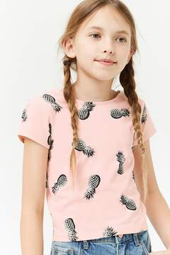 Forever 21 Girls Pineapple Print Scoop-Back Tee (Kids)