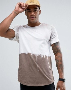 Religion Longline T-Shirt with Washed Dripping Paint Detail