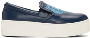 Kenzo Navy K-PY Tiger Platform Slip-On Sneakers