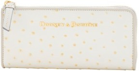 Dooney & Bourke Ostrich Zip Clutch Wallet - BONE LIGHT GREY - STYLE