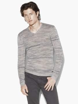 John Varvatos Broken Stripe V-Neck Sweater