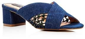 Jaggar Attain Denim Block Heel Slide Sandals