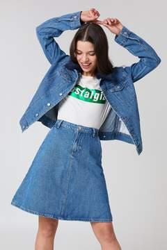 NA-KD Na Kd A-line Midi Denim Skirt