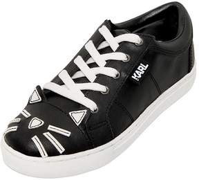 Karl Lagerfeld Cat Design Leather Sneakers