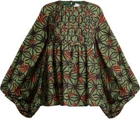 Stella Jean Geometric-print crepe de Chine blouse
