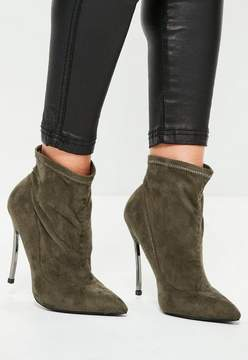 Missguided Khaki Curved Metal Heel Ankle Boots
