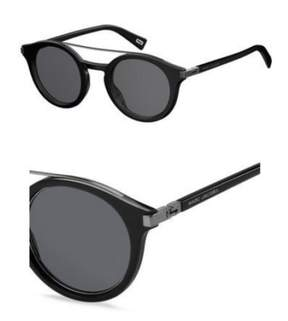 Marc Jacobs Marc173s Round Sunglasses, Black Ruthenium/Gray Blue, 48 mm