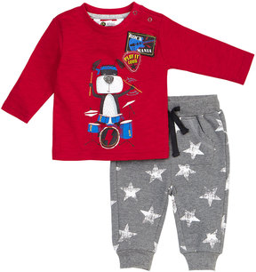 Petit Lem Drummer Two-Piece Outfit Set, Red, Size 3-24 Months