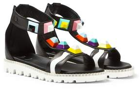 Fendi Black Multi Stud Ankle Strap Sandals