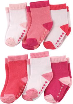 Luvable Friends Pink & White Non-Skid Six-Pair Socks Set