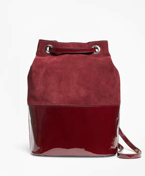 Brooks Brothers Suede and Patent Leather Bucket Bag