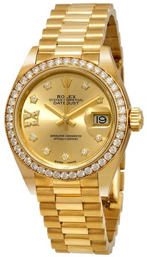 Rolex Lady-Datejust Champagne Diamond Dial 18kt Yellow Gold President Watch