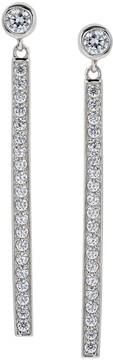 Crislu Bezel Set CZ Stud & Pave Bar Linear Drop Earrings