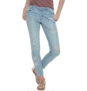 Almost Famous Juniors' Destructed Ankle Jeans