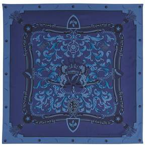 Aspinal of London Signature Shield Silk Scarf In Midnight Blue