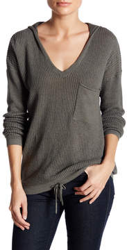 Democracy Hooded Knit V-Neck Sweater