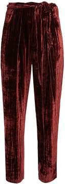 Masscob High-rise tapered-leg velvet trousers