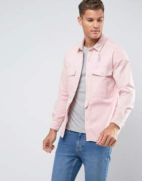 MANGO Man Destroyed Over Shirt In Rose Pink