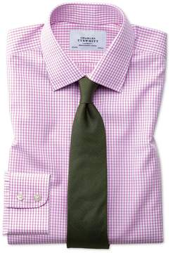 Charles Tyrwhitt Classic Fit Non-Iron Grid Check Pink Cotton Dress Shirt Single Cuff Size 15.5/34