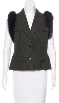 Christian Dior Fur-Trimmed Wool Vest