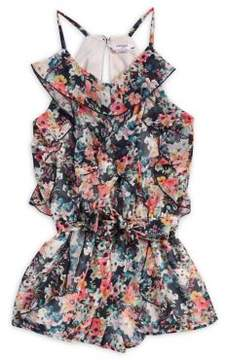 Bebe Girl's Floral Chiffon Romper