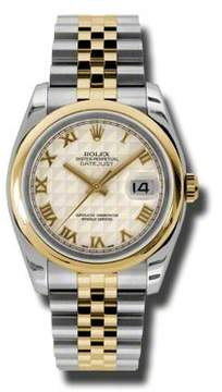 Rolex Datejust 36 Ivory Pyramid Dial Stainless Steel and 18K Yellow Gold Jubilee Bracelet Automatic Men's Watch