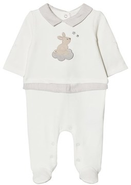 Mayoral Cream Bunny Applique Babygrow with Layered Waist