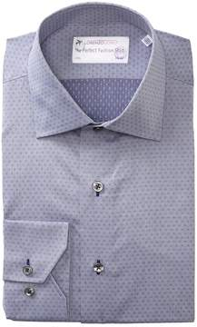 Lorenzo Uomo Diamond Texture Trim Fit Dress Shirt