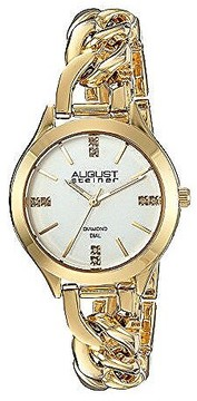 August Steiner Silver Dial Ladies Gold Tone Dial
