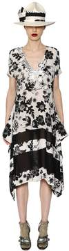 Antonio Marras Floral Printed Lace & Crepe Dress