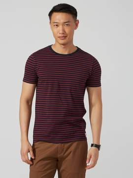 Frank and Oak Striped Cotton T-Shirt in Sapphire and Russet