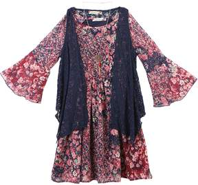 Speechless Girls 7-16 & Plus Size Lace Vest & Printed Bell Sleeve Dress Set with Necklace