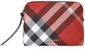 Burberry Large Zip-Top Check Pouch - RED - STYLE