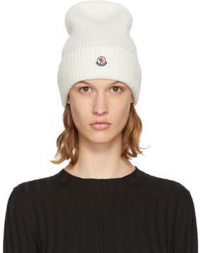 Moncler White Logo Beanie