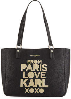 Karl Lagerfeld Paris Demi From Paris with Love Leather Logo Tote Bag