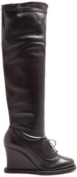 Bottega Veneta Intrecciato-panel leather over-the-knee boots