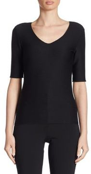Armani Collezioni Textured Jersey Elbow Sleeve Tee